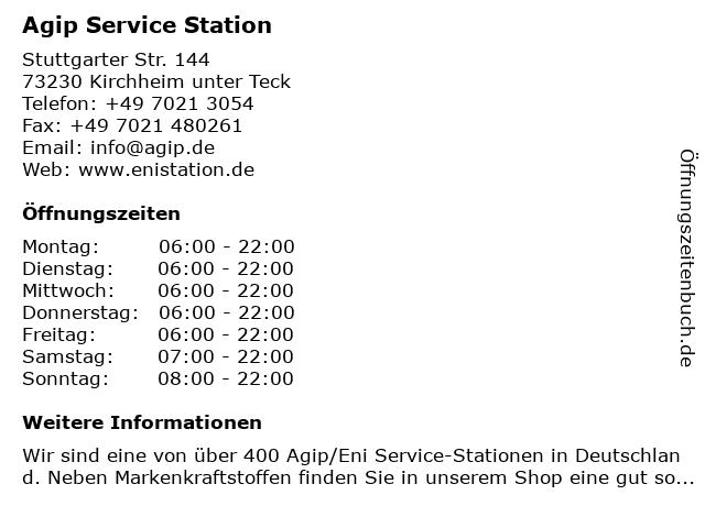 Agip Service Station in Kirchheim unter Teck: Adresse und Öffnungszeiten
