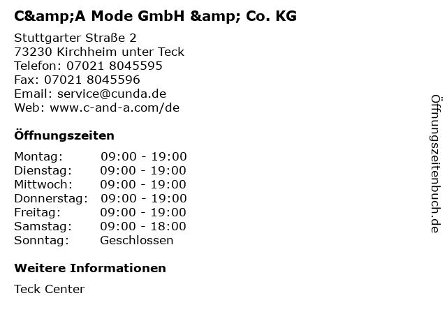 C&A Mode GmbH & Co. KG in Kirchheim unter Teck: Adresse und Öffnungszeiten