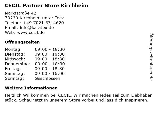 CECIL Partner Store Kirchheim in Kirchheim unter Teck: Adresse und Öffnungszeiten