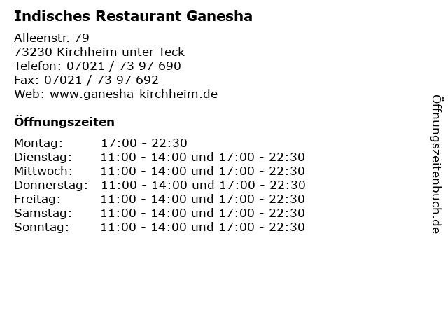 Indisches Restaurant Ganesha in Kirchheim unter Teck: Adresse und Öffnungszeiten