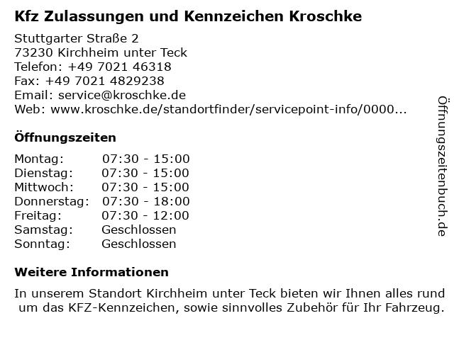 Kfz Zulassungen und Kennzeichen Kroschke in Kirchheim unter Teck: Adresse und Öffnungszeiten