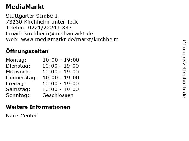 MediaMarkt in Kirchheim unter Teck: Adresse und Öffnungszeiten