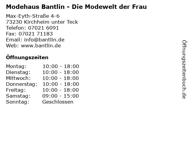 Modehaus Bantlin - Die Modewelt der Frau in Kirchheim unter Teck: Adresse und Öffnungszeiten
