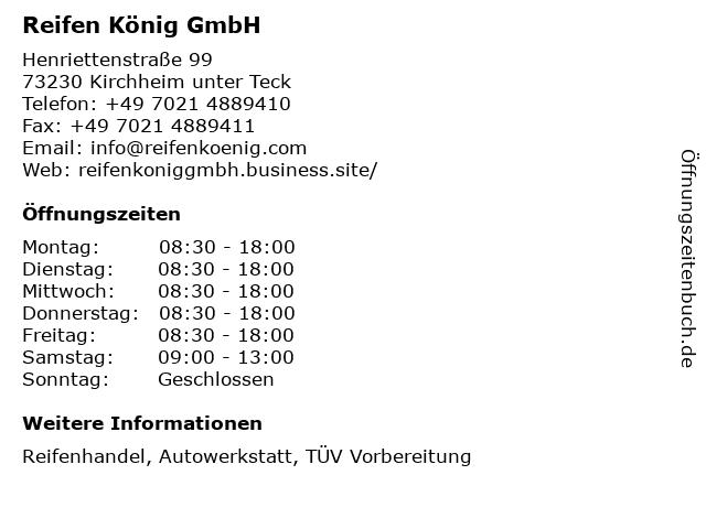 Reifen König GmbH in Kirchheim unter Teck: Adresse und Öffnungszeiten