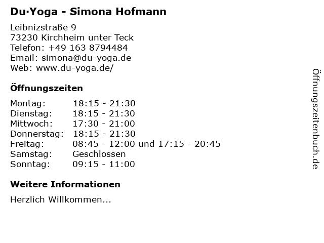du!Yoga - Simona Hofmann in Kirchheim unter Teck: Adresse und Öffnungszeiten