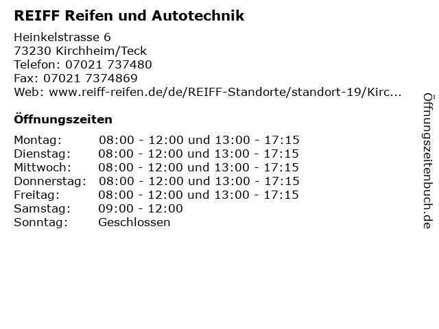 REIFF Reifen und Autotechnik in Kirchheim/Teck: Adresse und Öffnungszeiten
