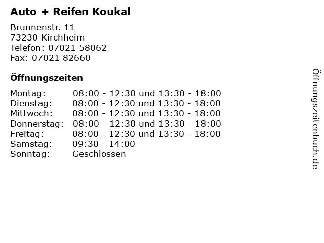 Auto + Reifen Koukal in Kirchheim: Adresse und Öffnungszeiten