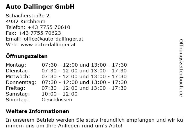 Auto Dallinger GmbH in Kirchheim: Adresse und Öffnungszeiten