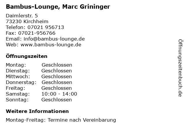 ᐅ Offnungszeiten Bambus Lounge Marc Grininger Daimlerstr 5 In