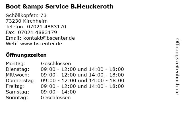 Boot & Service B.Heuckeroth in Kirchheim: Adresse und Öffnungszeiten