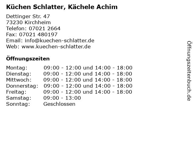 ᐅ Offnungszeiten Kuchen Schlatter Kachele Achim Dettinger Str