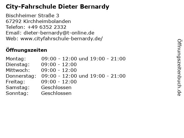 City-Fahrschule Dieter Bernardy in Kirchheimbolanden: Adresse und Öffnungszeiten