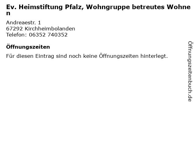 Ev. Heimstiftung Pfalz, Wohngruppe betreutes Wohnen in Kirchheimbolanden: Adresse und Öffnungszeiten