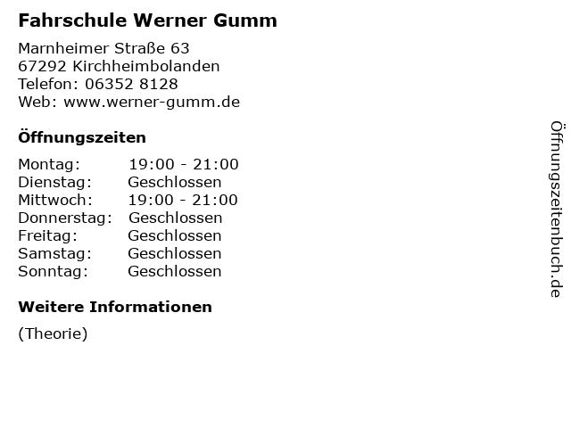 Fahrschule Werner Gumm in Kirchheimbolanden: Adresse und Öffnungszeiten