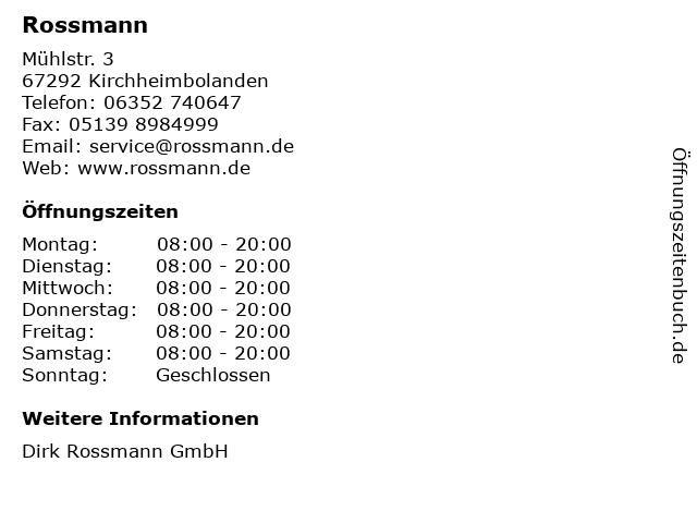 Dirk Rossmann GmbH in Kirchheimbolanden: Adresse und Öffnungszeiten