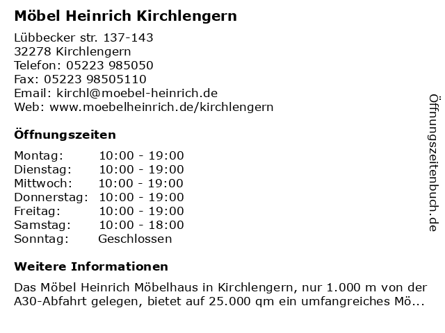 ᐅ Offnungszeiten Mobel Heinrich Gmbh Co Kg Lubbecker Str