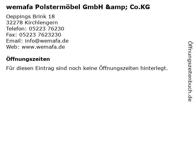 ᐅ öffnungszeiten Wemafa Polstermöbel Gmbh Cokg Oeppings