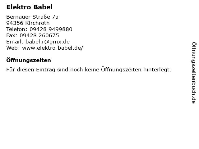 Elektro Babel in Kirchroth: Adresse und Öffnungszeiten