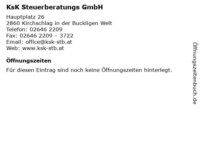 KsK Steuerberatungs GmbH in Kirchschlag in der Buckligen Welt: Adresse und Öffnungszeiten