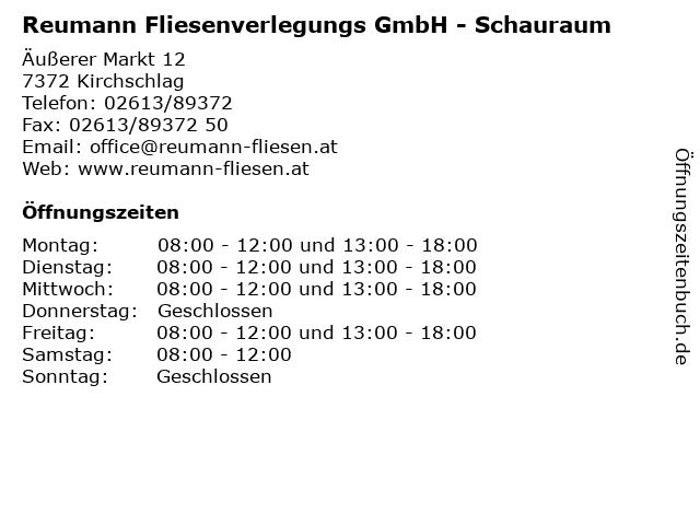 Reumann Fliesenverlegungs GmbH - Schauraum in Kirchschlag: Adresse und Öffnungszeiten