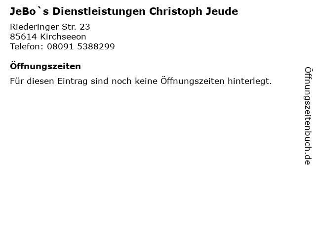 JeBo`s Dienstleistungen Christoph Jeude in Kirchseeon: Adresse und Öffnungszeiten