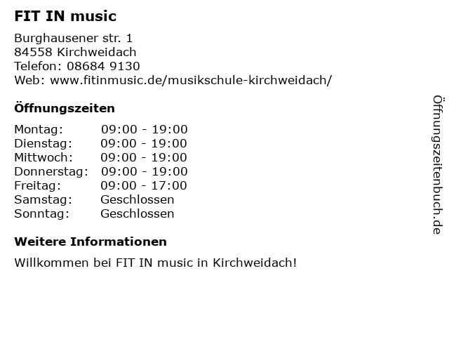 FIT IN music in Kirchweidach: Adresse und Öffnungszeiten
