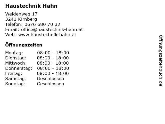 Haustechnik Hahn in Kirnberg: Adresse und Öffnungszeiten