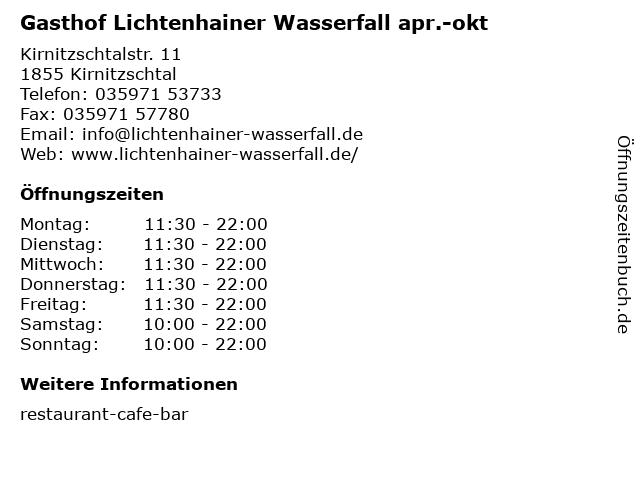 Gasthof Lichtenhainer Wasserfall apr.-okt in Kirnitzschtal: Adresse und Öffnungszeiten