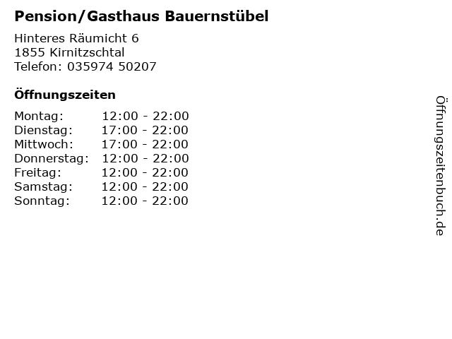 Pension/Gasthaus Bauernstübel in Kirnitzschtal: Adresse und Öffnungszeiten