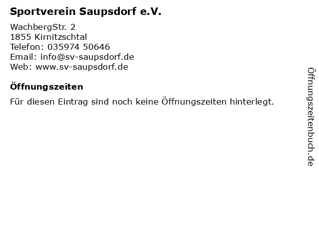 Sportverein Saupsdorf e.V. in Kirnitzschtal: Adresse und Öffnungszeiten