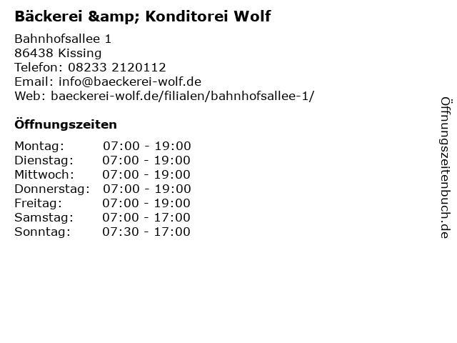 Bäckerei & Konditorei Wolf in Kissing: Adresse und Öffnungszeiten