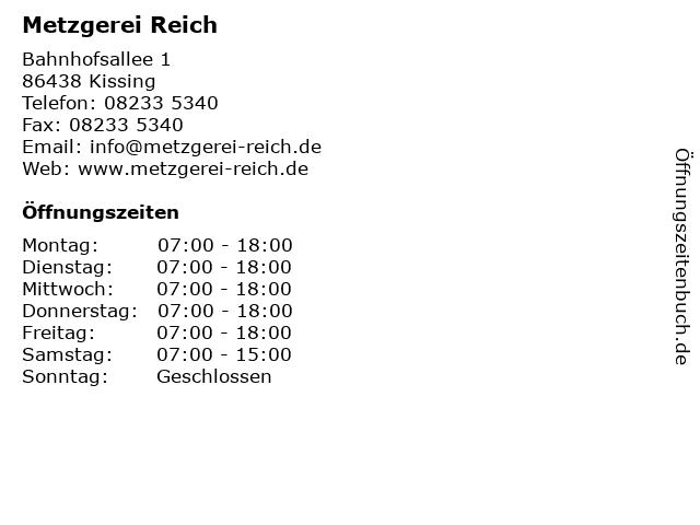 Metzgerei Reich in Kissing: Adresse und Öffnungszeiten