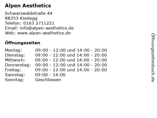 Alpen Aesthetics in Kisslegg: Adresse und Öffnungszeiten