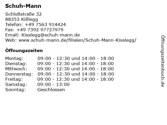 Schuh-Mann in Kißlegg: Adresse und Öffnungszeiten