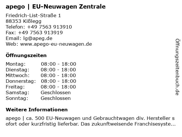 apego   Zentrale in Kißlegg: Adresse und Öffnungszeiten