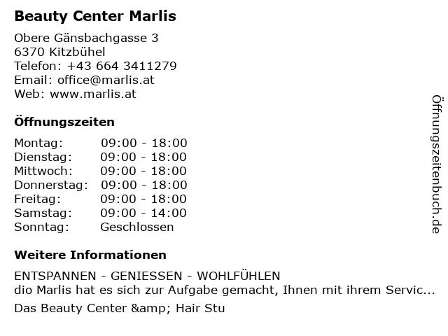 Beauty Center Marlis in Kitzbühel: Adresse und Öffnungszeiten