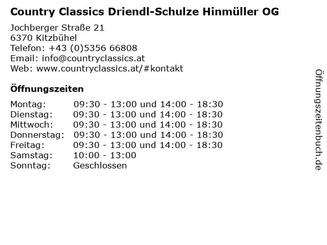 Country Classics Driendl-Schulze Hinmüller OG in Kitzbühel: Adresse und Öffnungszeiten