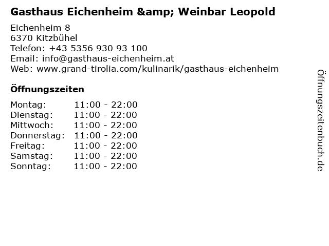 Gasthaus Eichenheim & Weinbar Leopold in Kitzbühel: Adresse und Öffnungszeiten