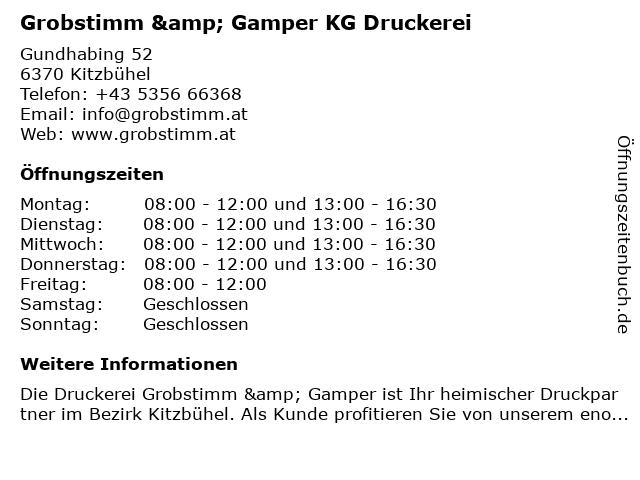 Druckerei Grobstimm & Gamper in Kitzbühel: Adresse und Öffnungszeiten