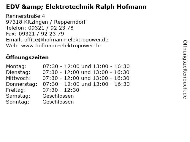 EDV & Elektrotechnik Ralph Hofmann in Kitzingen / Repperndorf: Adresse und Öffnungszeiten