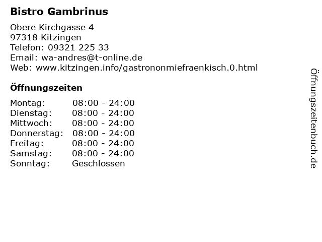 Bistro Gambrinus in Kitzingen: Adresse und Öffnungszeiten