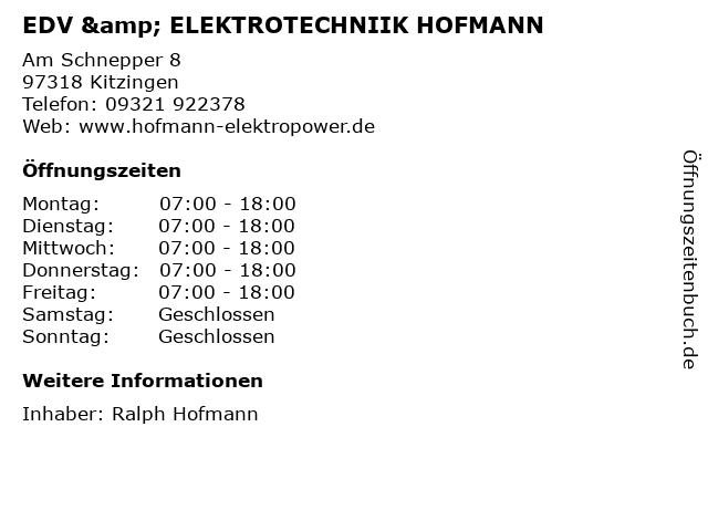 EDV & ELEKTROTECHNIIK HOFMANN in Kitzingen: Adresse und Öffnungszeiten