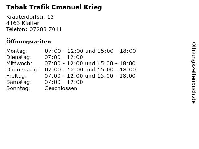 Tabak Trafik Emanuel Krieg in Klaffer: Adresse und Öffnungszeiten