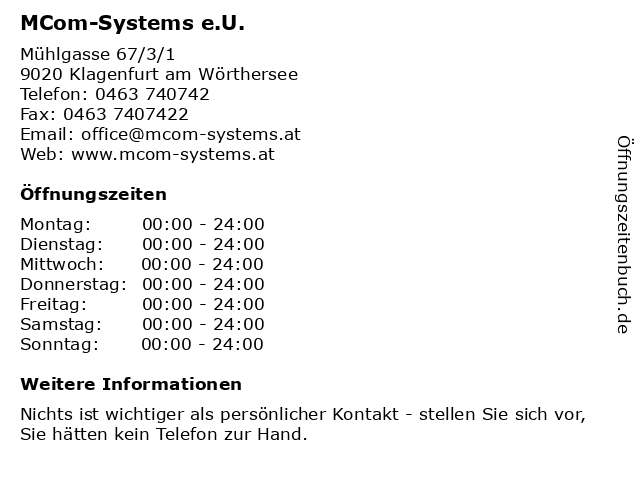 MCom-Systems e.U. in Klagenfurt am Wörthersee: Adresse und Öffnungszeiten