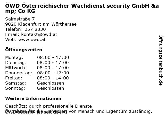 ÖWD Österreichischer Wachdienst security GmbH & Co KG in Klagenfurt am Wörthersee: Adresse und Öffnungszeiten