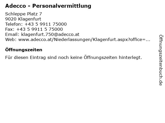 Adecco in Klagenfurt: Adresse und Öffnungszeiten