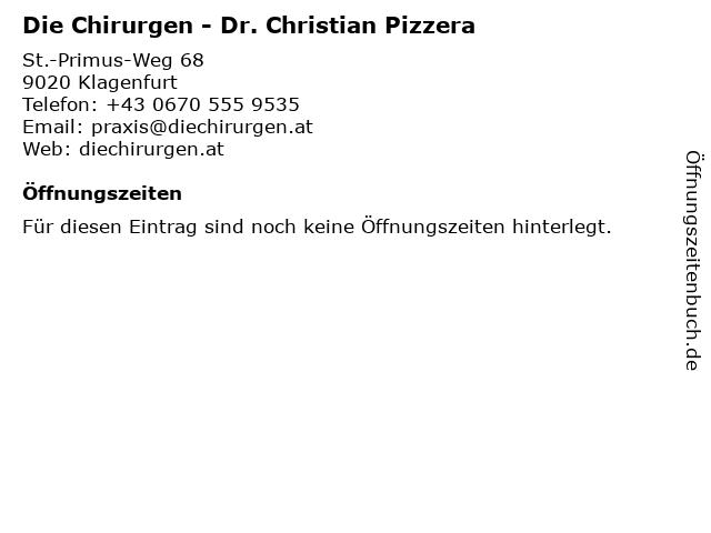 Die Chirurgen - Dr. Christian Pizzera in Klagenfurt: Adresse und Öffnungszeiten