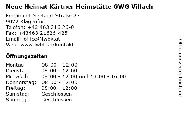 Á… Offnungszeiten Neue Heimat Kartner Heimstatte Gwg Villach Ferdinand Seeland Strasse 27 In Klagenfurt