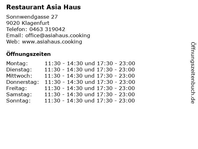 Restaurant Asia Haus in Klagenfurt: Adresse und Öffnungszeiten