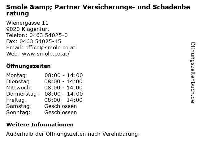 Smole & Partner Versicherungs- und Schadenberatung in Klagenfurt: Adresse und Öffnungszeiten